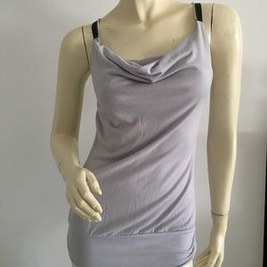 Love notes cowl neck tank top with zipper